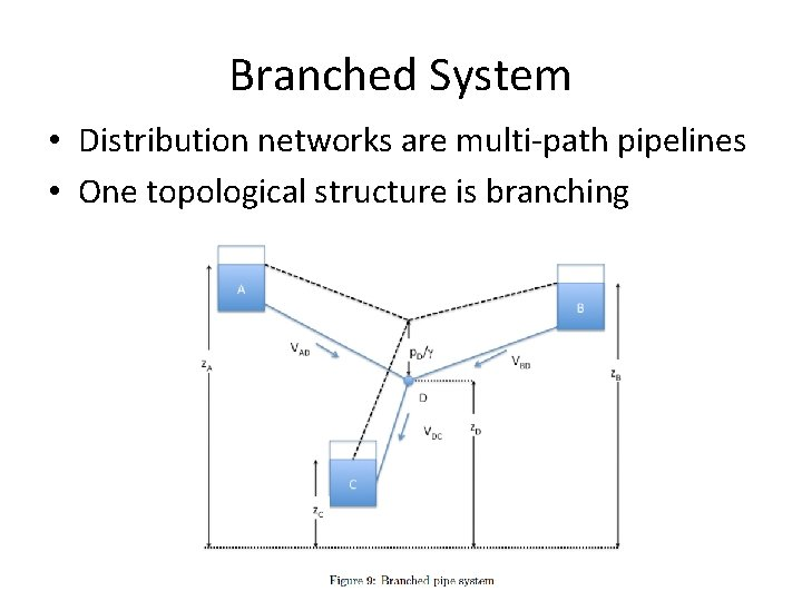 Branched System • Distribution networks are multi-path pipelines • One topological structure is branching