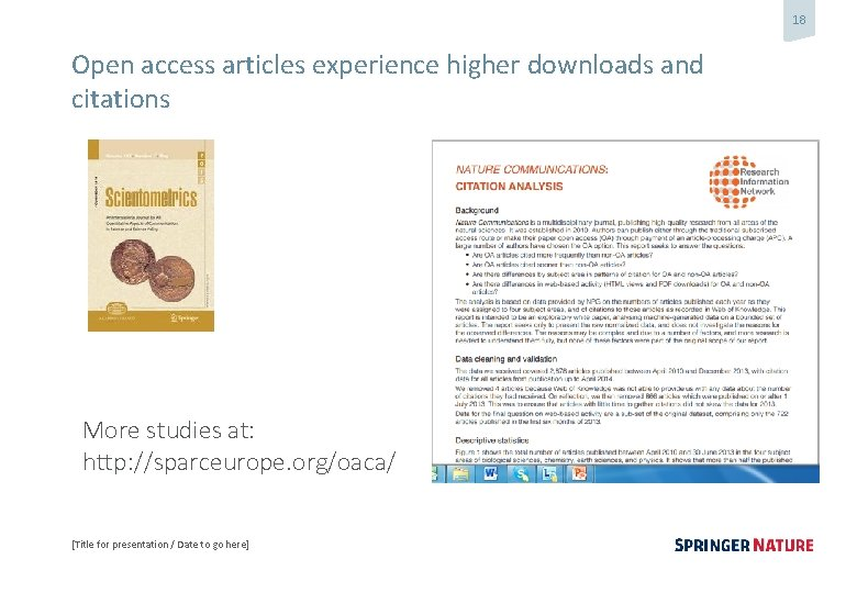 18 Open access articles experience higher downloads and citations More studies at: http: //sparceurope.