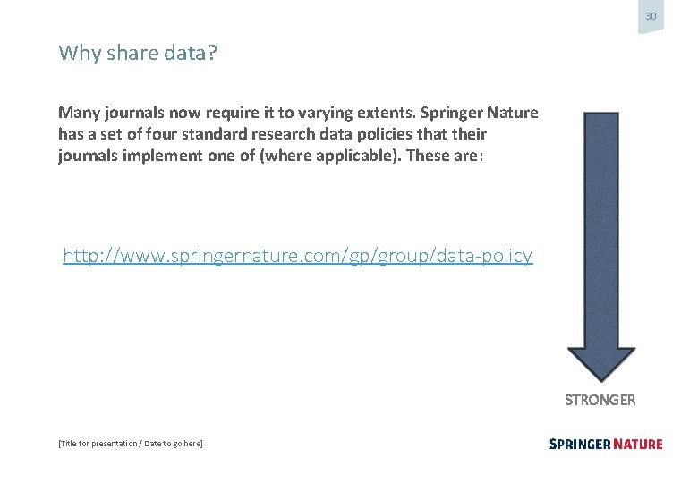 30 Why share data? Many journals now require it to varying extents. Springer Nature
