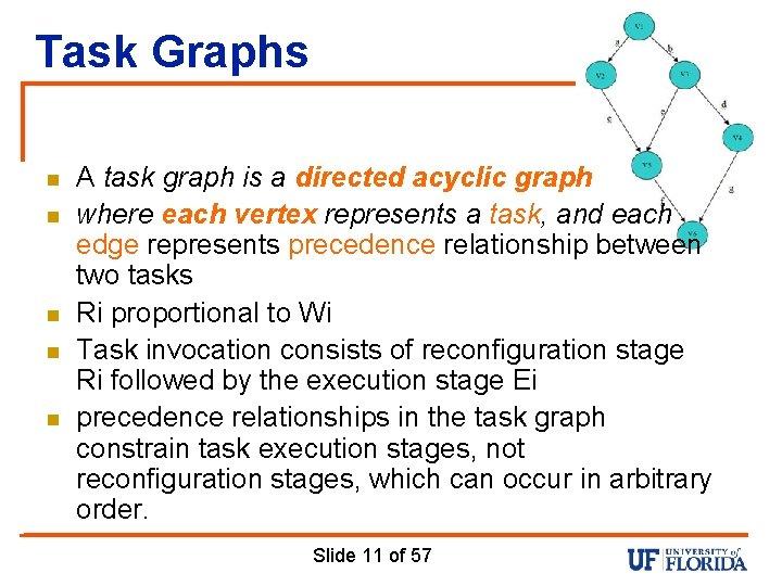 Task Graphs n n n A task graph is a directed acyclic graph where