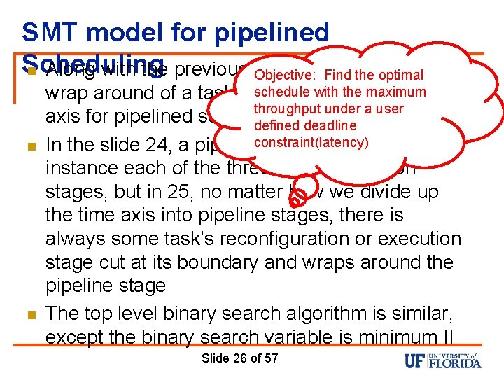 SMT model for pipelined Scheduling n Along with the previous constraint set, possible Objective: