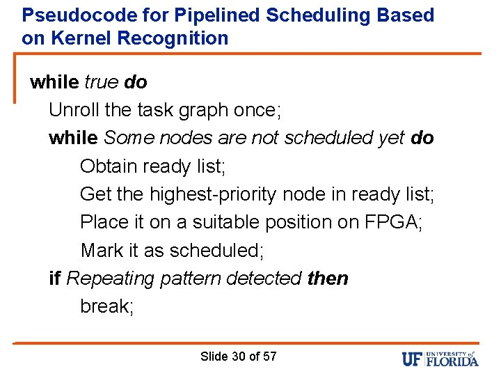 Pseudocode for Pipelined Scheduling Based on Kernel Recognition while true do Unroll the task