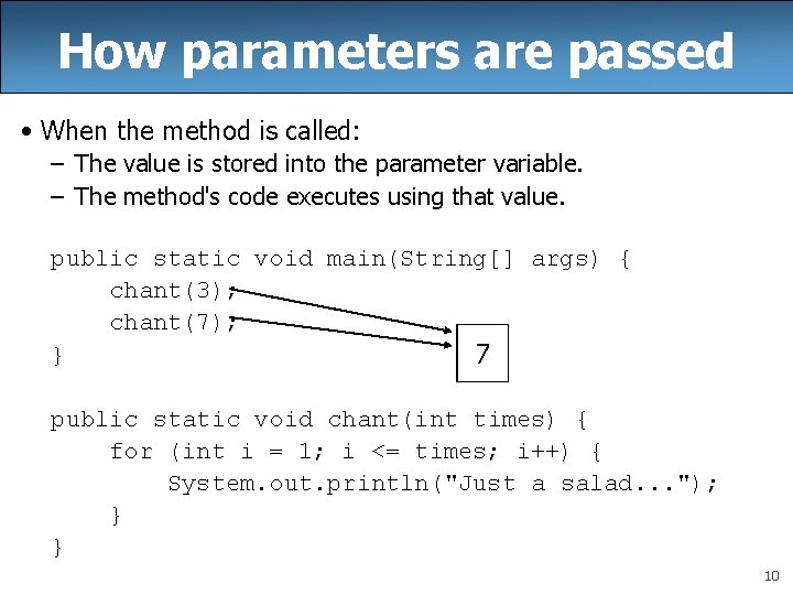 How parameters are passed • When the method is called: – The value is