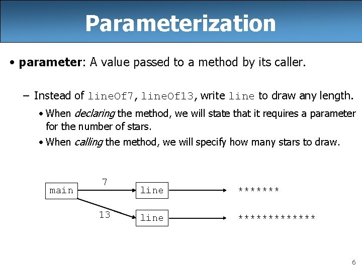 Parameterization • parameter: A value passed to a method by its caller. – Instead