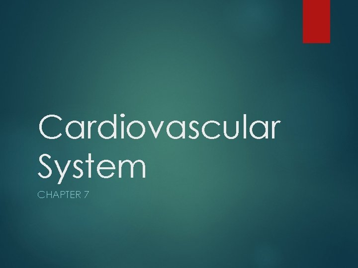 Cardiovascular System CHAPTER 7
