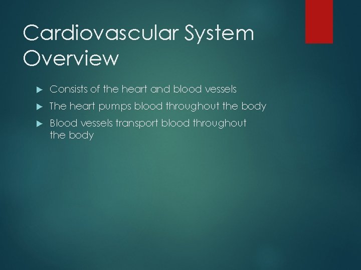 Cardiovascular System Overview Consists of the heart and blood vessels The heart pumps blood
