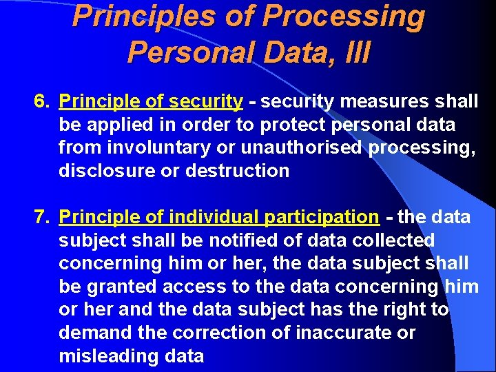 Principles of Processing Personal Data, III 6. Principle of security - security measures