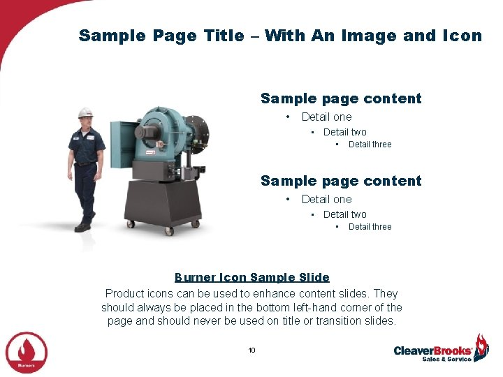 Sample Page Title – With An Image and Icon Sample page content • Detail