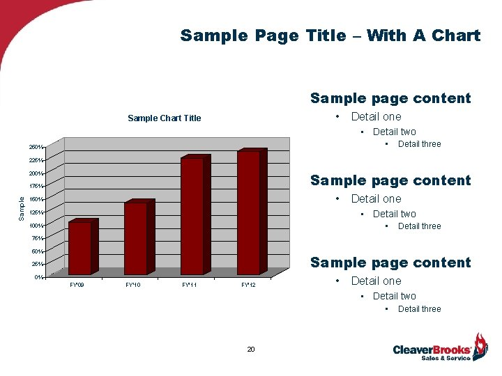 Sample Page Title – With A Chart Sample page content • Sample Chart Title