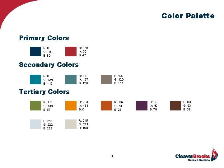 Color Palette Primary Colors R: 0 G: 49 B: 80 R: 170 G: 39