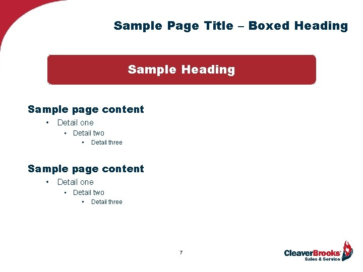 Sample Page Title – Boxed Heading Sample page content • Detail one • Detail