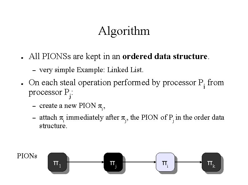 Algorithm ● All PIONSs are kept in an ordered data structure. – ● very