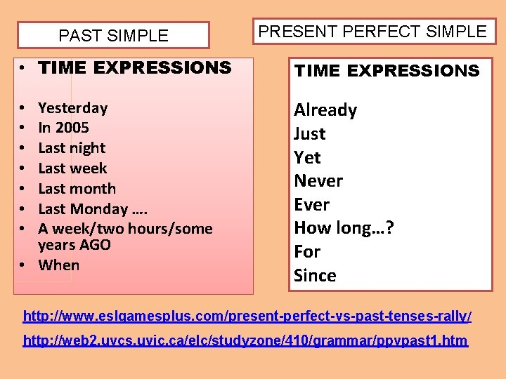 PAST SIMPLE PRESENT PERFECT SIMPLE • TIME EXPRESSIONS Yesterday In 2005 Last night Last