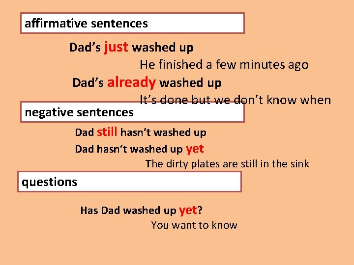affirmative sentences Dad's just washed up He finished a few minutes ago Dad's already