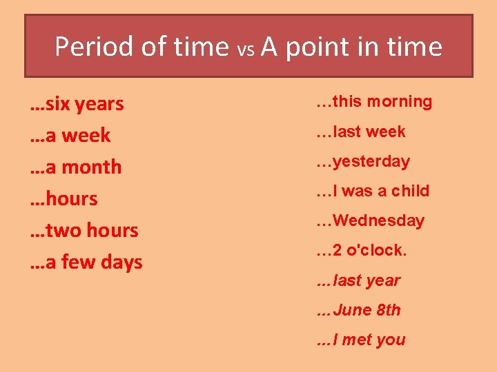 Period of time vs A point in time …six years …a week …a month