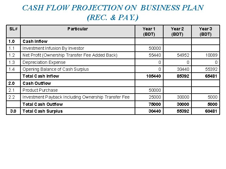 CASH FLOW PROJECTION ON BUSINESS PLAN (REC. & PAY. ) SL# Particular Year 1