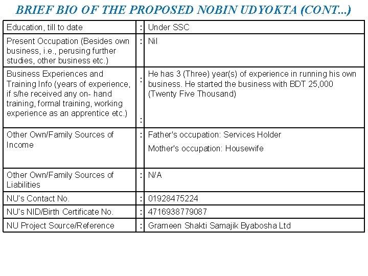 BRIEF BIO OF THE PROPOSED NOBIN UDYOKTA (CONT. . . ) Education, till to