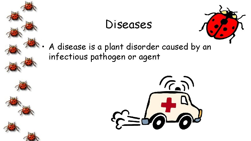 Diseases • A disease is a plant disorder caused by an infectious pathogen or