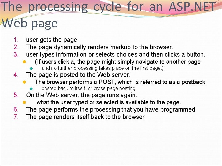 The processing cycle for an ASP. NET Web page 1. 2. 3. user gets