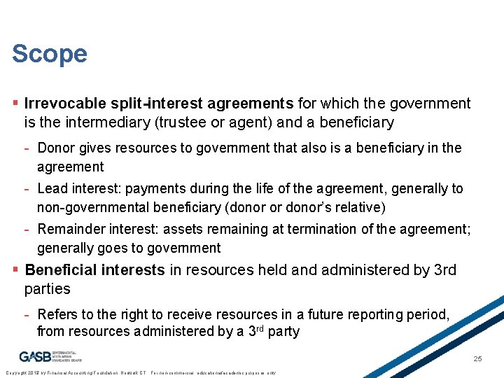 Scope § Irrevocable split-interest agreements for which the government is the intermediary (trustee or