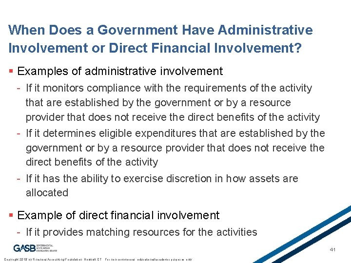 When Does a Government Have Administrative Involvement or Direct Financial Involvement? § Examples of
