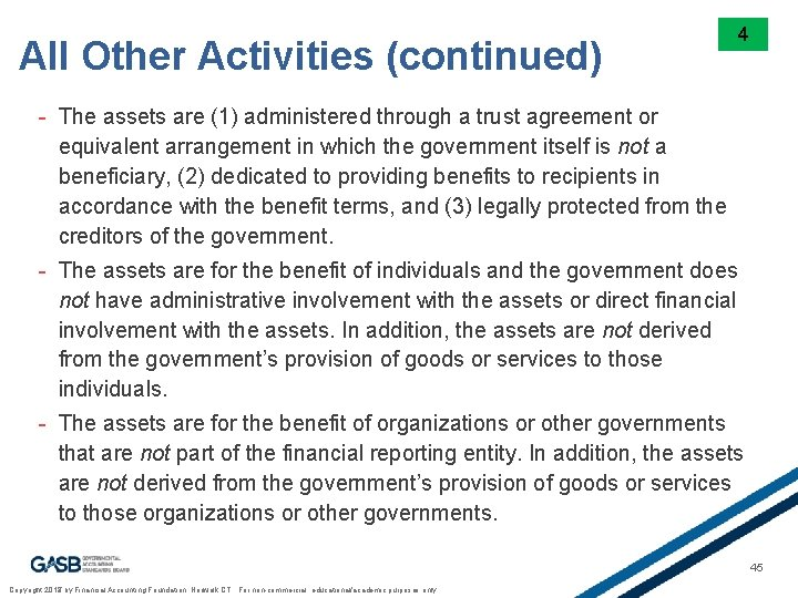 All Other Activities (continued) 4 - The assets are (1) administered through a trust