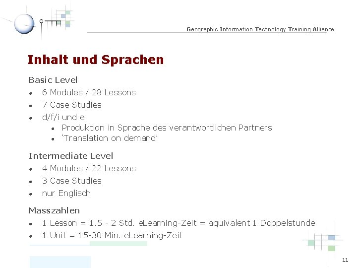 Geographic Information Technology Training Alliance Inhalt und Sprachen Basic Level l 6 Modules /