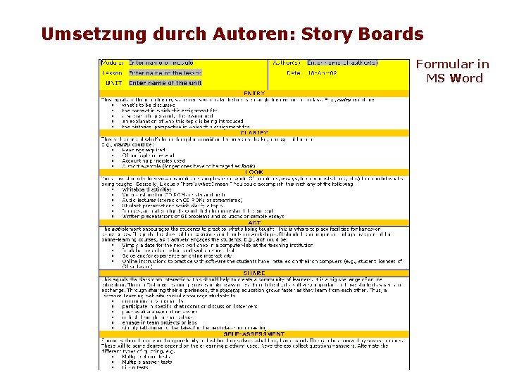 Umsetzung durch Autoren: Story Boards Formular in MS Word