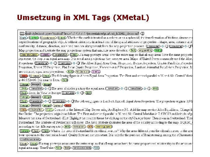 Umsetzung in XML Tags (XMeta. L)
