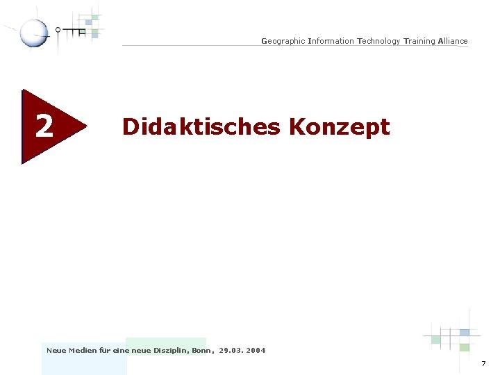 Geographic Information Technology Training Alliance 2 Didaktisches Konzept Neue Medien für eine neue Disziplin,