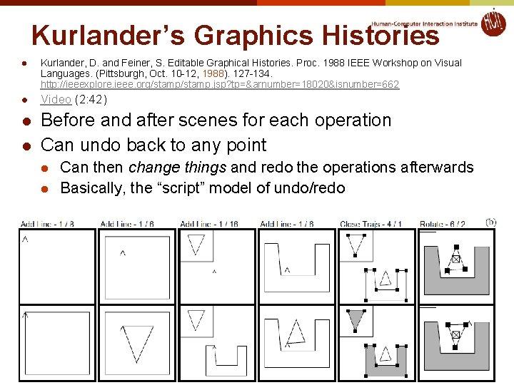 Kurlander's Graphics Histories l Kurlander, D. and Feiner, S. Editable Graphical Histories. Proc. 1988
