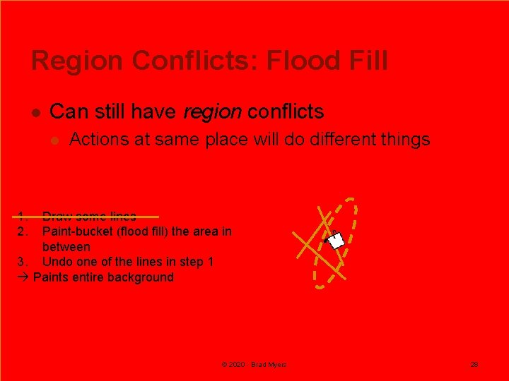 Region Conflicts: Flood Fill l Can still have region conflicts l Actions at same