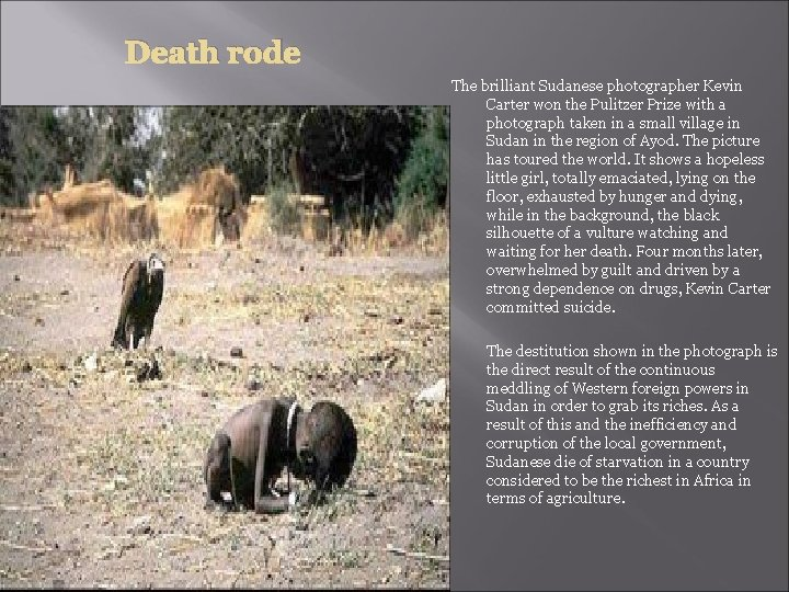 Death rode The brilliant Sudanese photographer Kevin Carter won the Pulitzer Prize with a