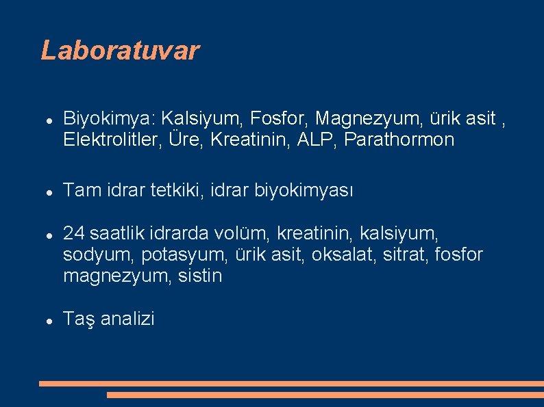 Laboratuvar Biyokimya: Kalsiyum, Fosfor, Magnezyum, ürik asit , Elektrolitler, Üre, Kreatinin, ALP, Parathormon Tam