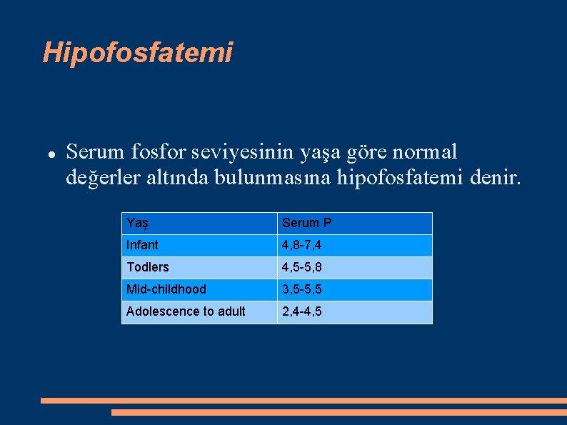 Hipofosfatemi Serum fosfor seviyesinin yaşa göre normal değerler altında bulunmasına hipofosfatemi denir. Yaş Serum