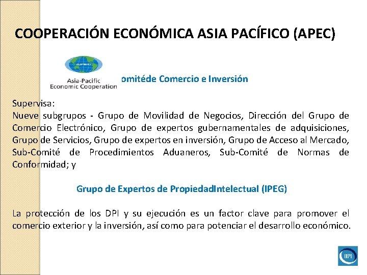 COOPERACIÓN ECONÓMICA ASIA PACÍFICO (APEC) Comitéde Comercio e Inversión Supervisa: Nueve subgrupos - Grupo