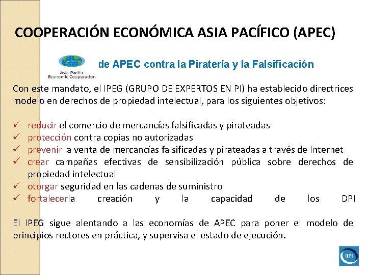 COOPERACIÓN ECONÓMICA ASIA PACÍFICO (APEC) Iniciativade APEC contra la Piratería y la Falsificación Con
