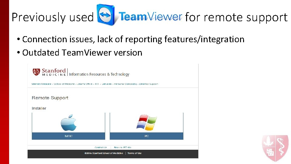 Previously used for remote support • Connection issues, lack of reporting features/integration • Outdated
