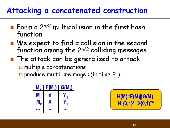 Attacking a concatenated construction n Form a 2 n/2 multicollision in the first hash