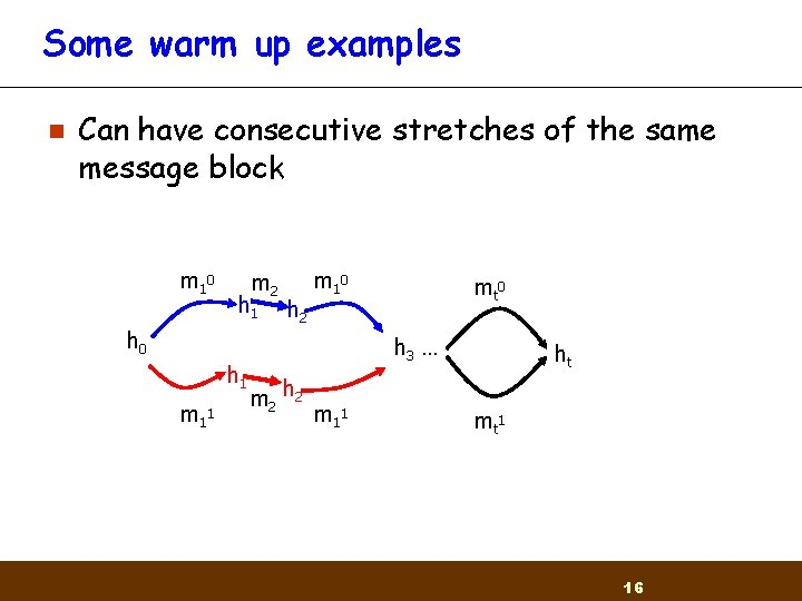 Some warm up examples n Can have consecutive stretches of the same message block