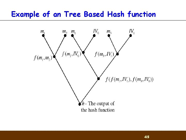 Example of an Tree Based Hash function 45