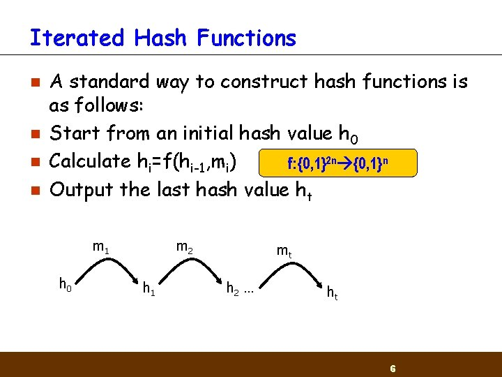 Iterated Hash Functions n n A standard way to construct hash functions is as