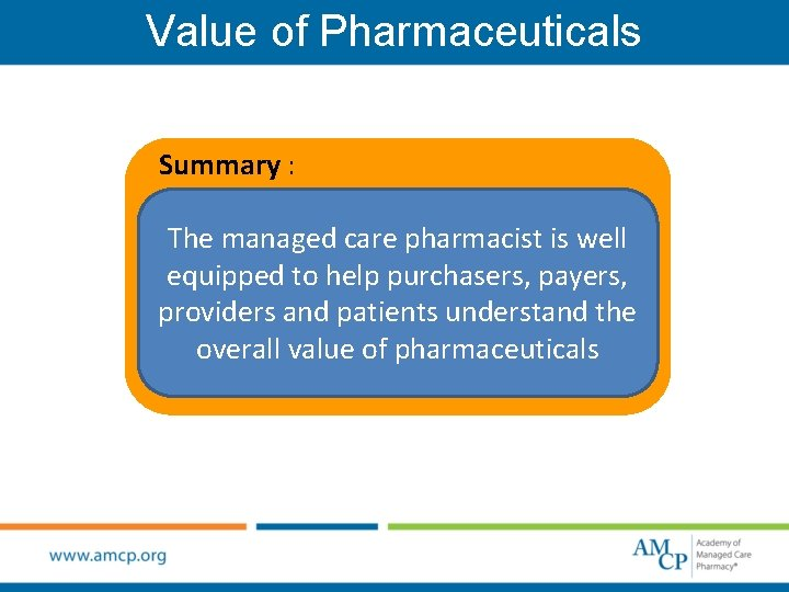 Value of Pharmaceuticals Summary : The managed care pharmacist is well equipped to help