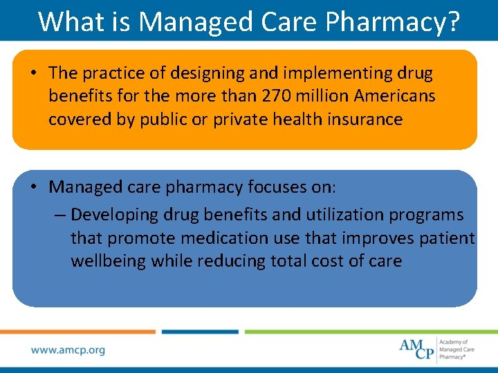 What is Managed Care Pharmacy? • The practice of designing and implementing drug benefits