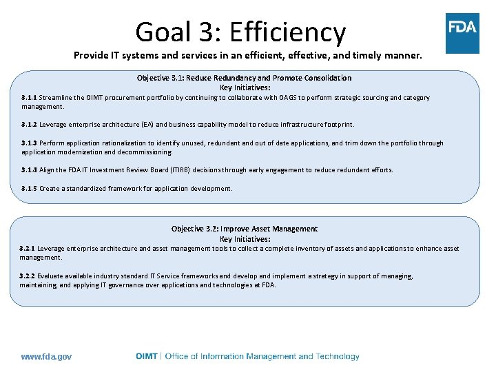 Goal 3: Efficiency Provide IT systems and services in an efficient, effective, and timely