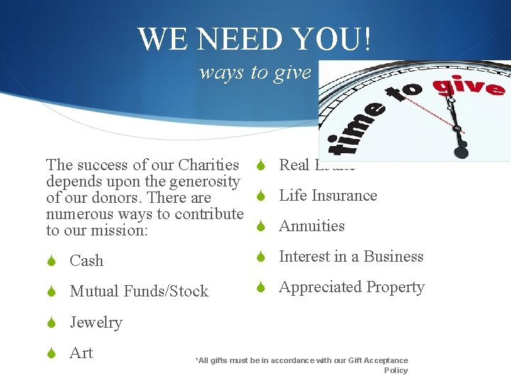 WE NEED YOU! ways to give The success of our Charities S Real Estate
