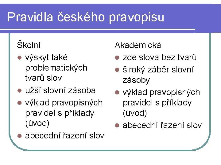 Pravidla českého pravopisu Školní l výskyt také problematických tvarů slov l užší slovní zásoba