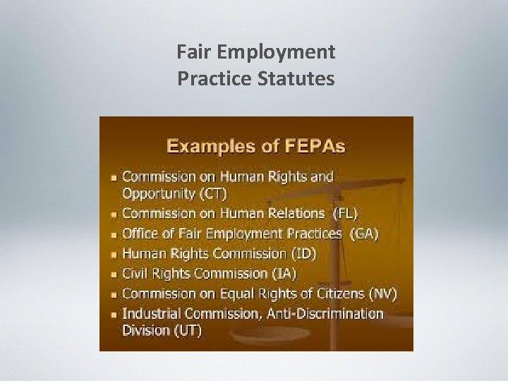 Fair Employment Practice Statutes