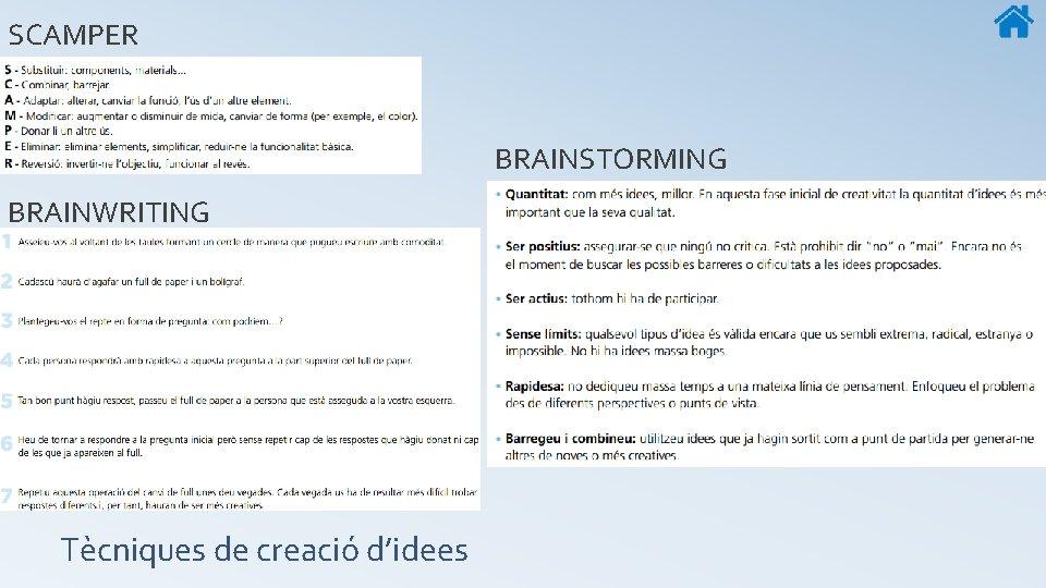 SCAMPER BRAINSTORMING BRAINWRITING Tècniques de creació d'idees