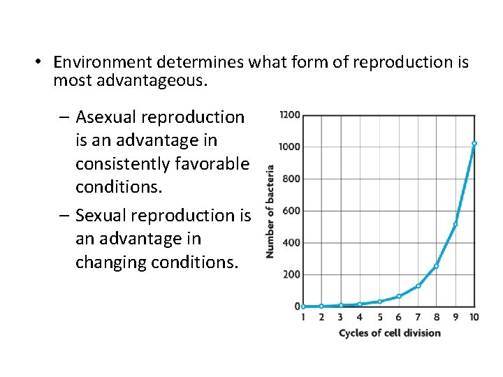 • Environment determines what form of reproduction is most advantageous. – Asexual reproduction